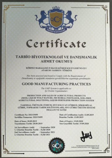 Good Manufacturer Practices (GMP) certification supports the quality production